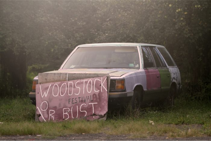 Woodstock or bust sign to represent Woodstock 50