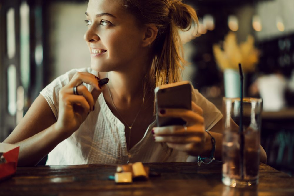 woman eating chocolate edibles