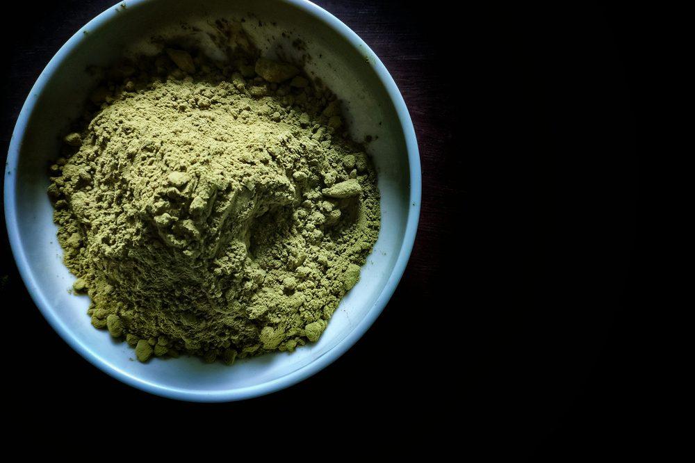 green powder, possibly THCa powder, in bowl