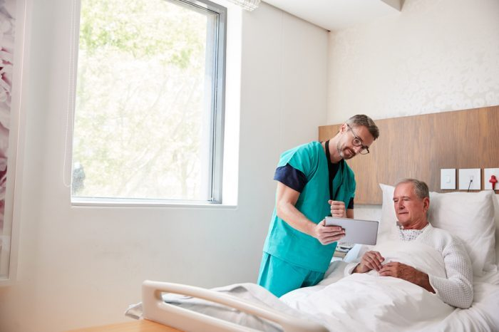 geriatric medicine like cannabis might help this older fellow in hospital bed