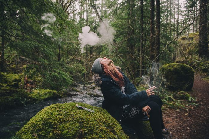 green sheep reperesented by girl smoking in beautiful forest