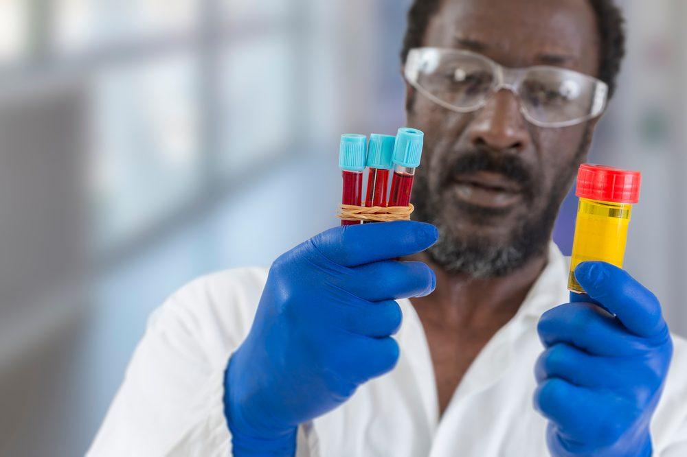 scientist looking at samples