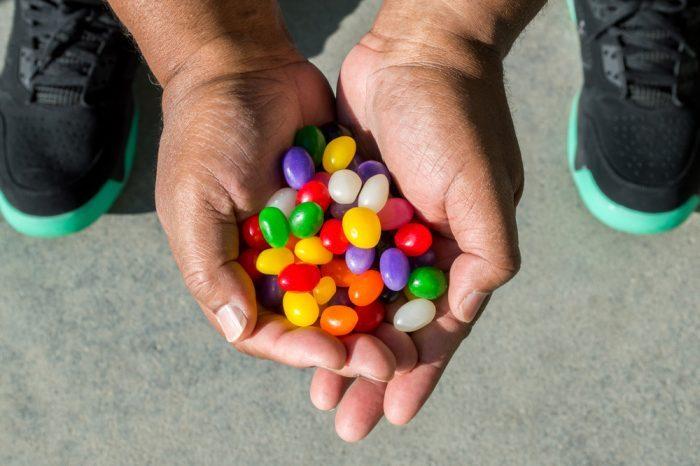 gummy bears in child's hands
