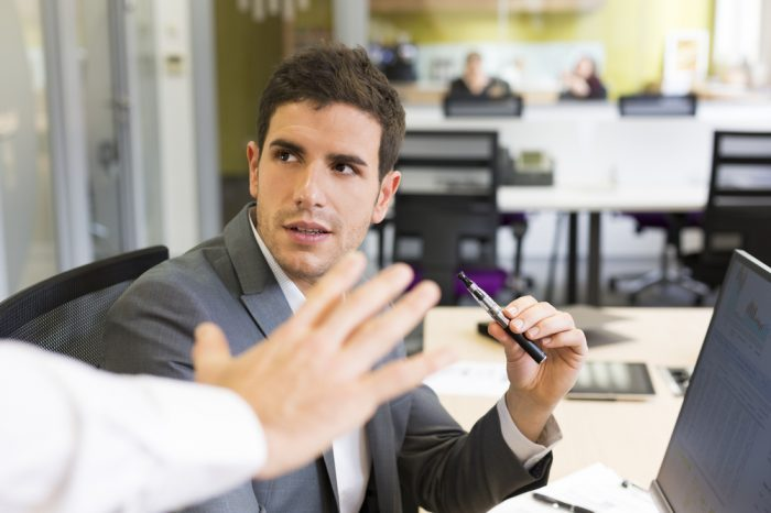 man saying no vape pens to colleague