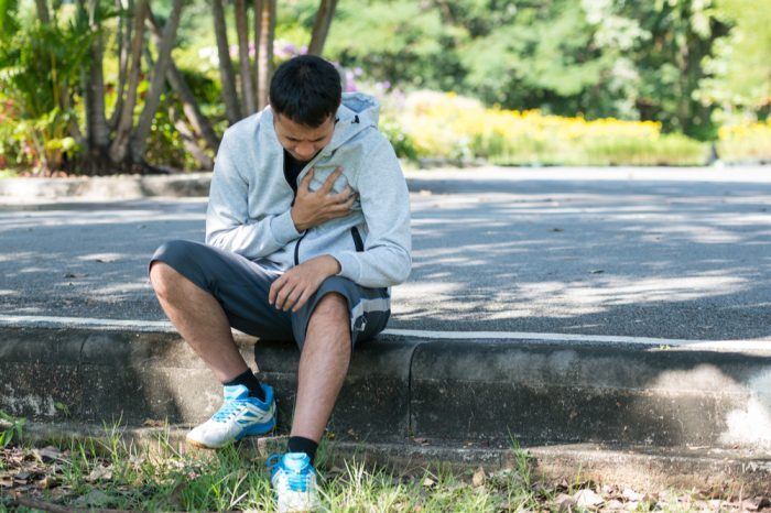 heart damage possible for young man clutching heart