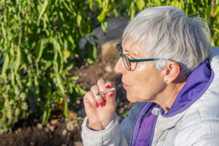 weed is dangerous notion questioned by happy healthy older woman smoking