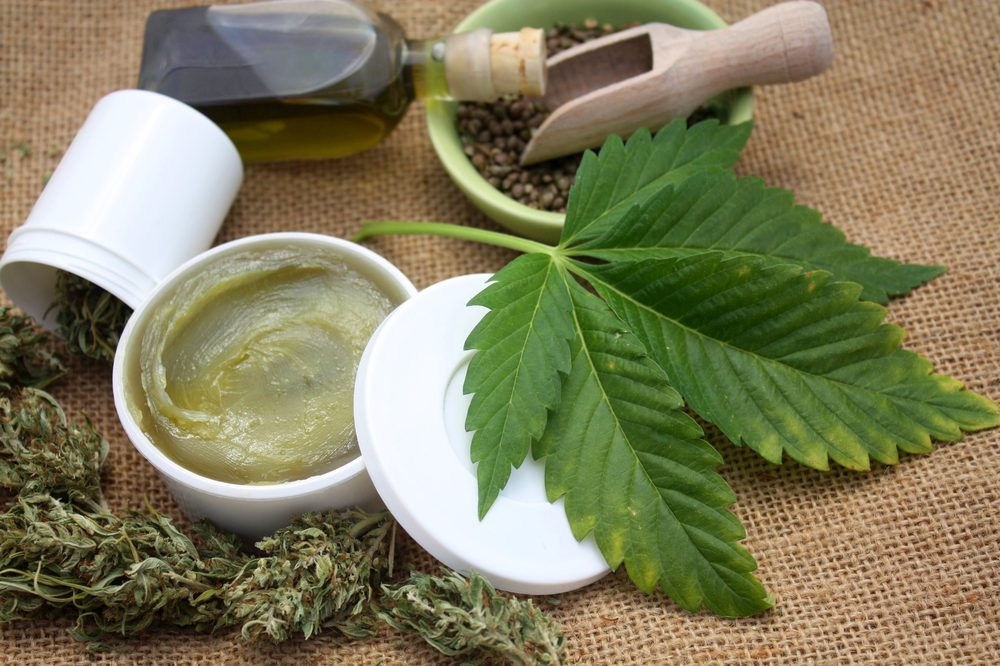 cbd salve with cannabis leaf and buds