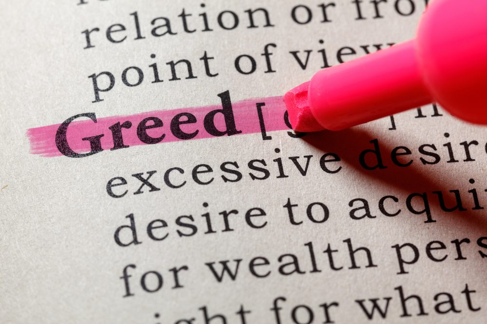 "BIG PHARMA LOSING MONEY represented by ""greed"" highlighted in the dictionary"