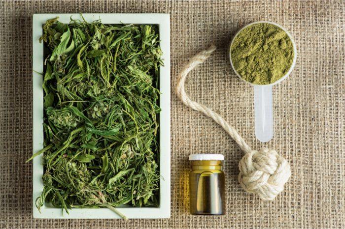 hemp medicine laid out on a table