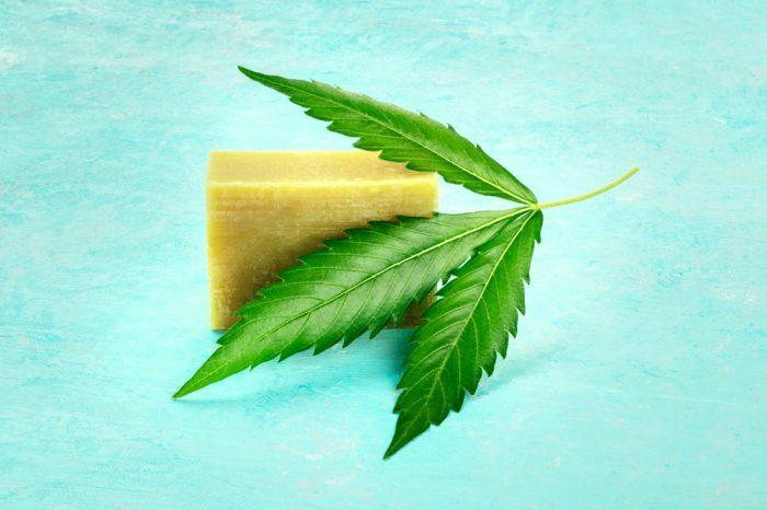 hemp soap with cannabis leaves