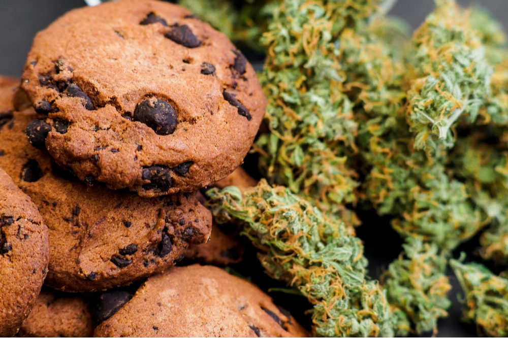 edibles cookies with cannabis bud