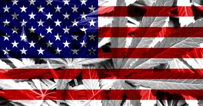 is cbd legal in my state concept map American flag with cannabis leaves in background