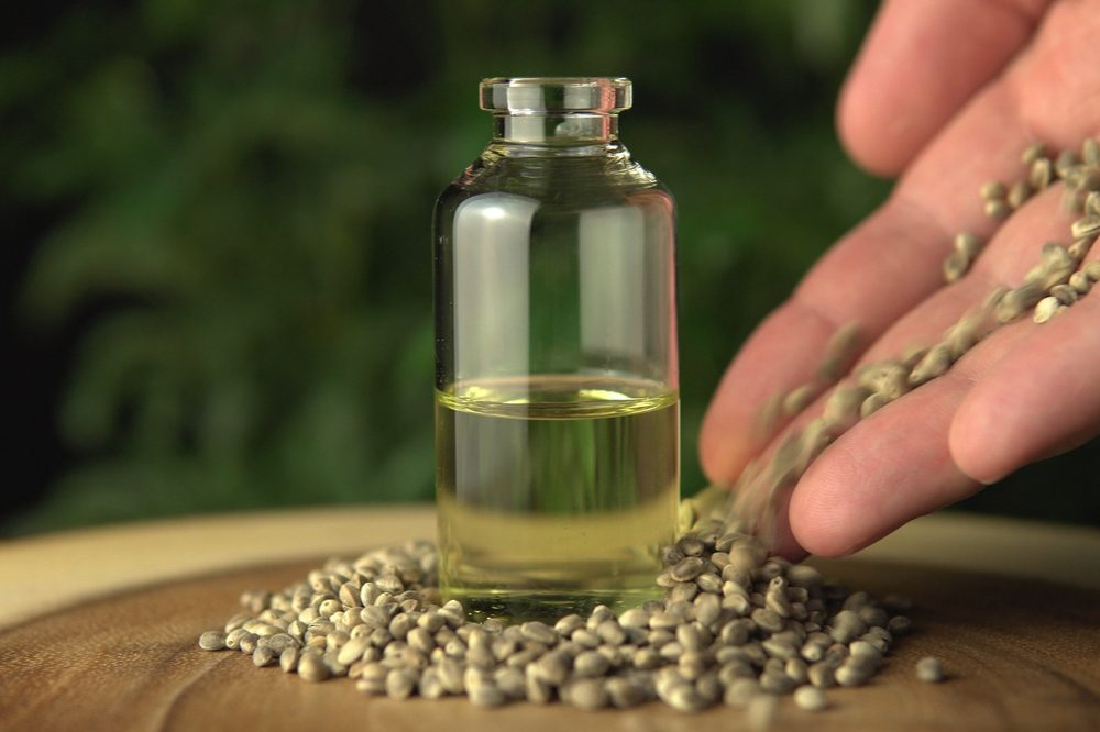 A bottle of hemp oil. Hemp oil benefits are numerous and wide ranging