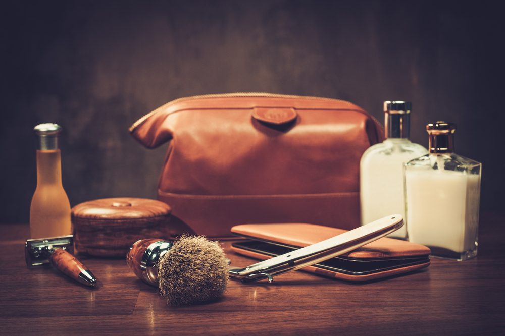 skin care for men represented by manly leather shaving kit