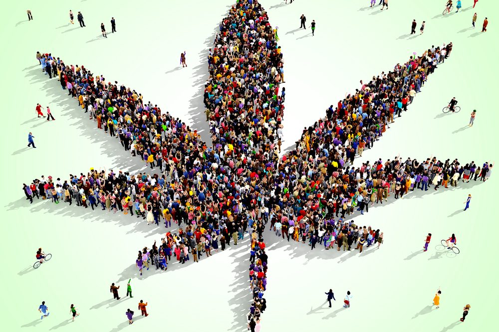 cannabis leaf made from a group of people representing social inequality