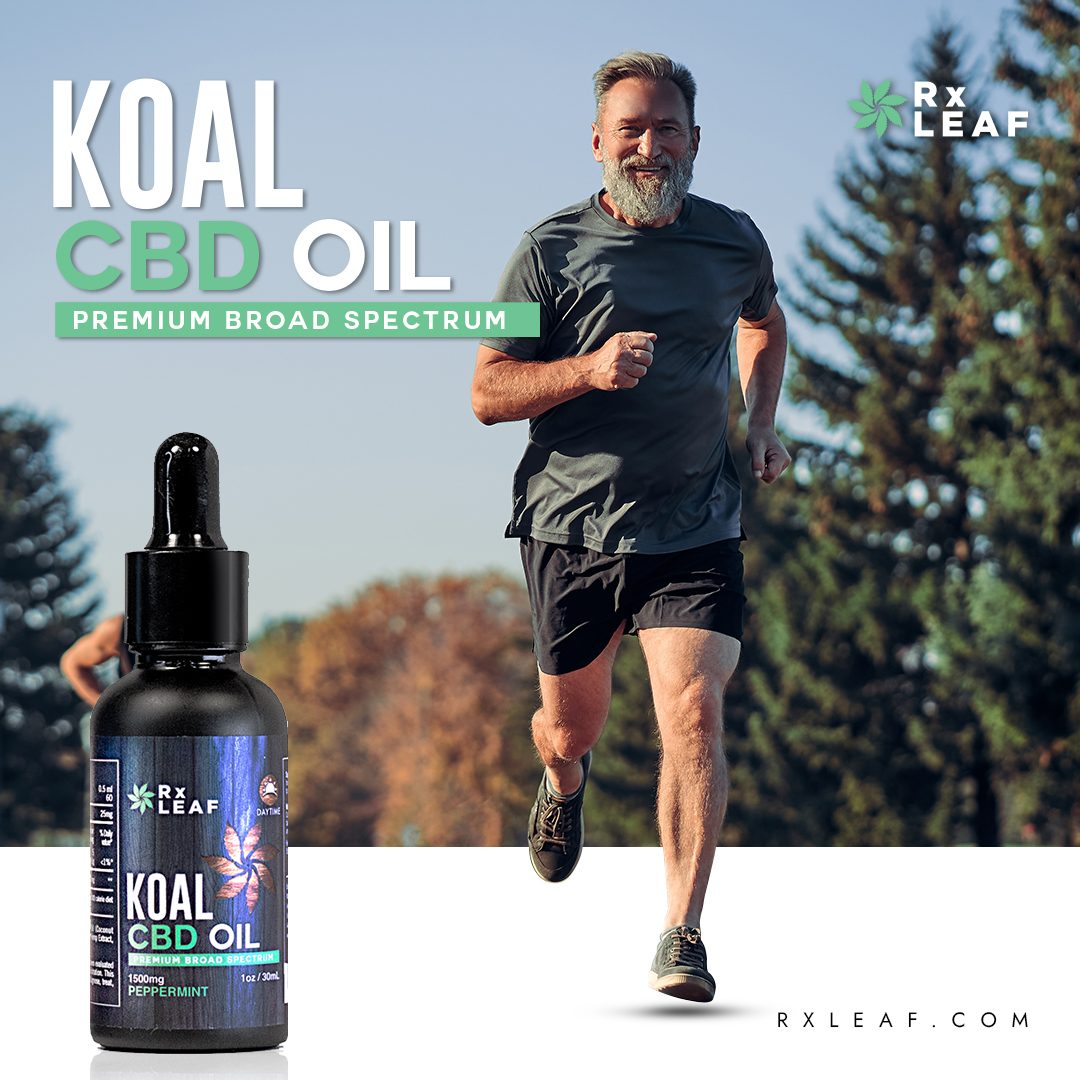 Older man running in product placement ad for CBD oil