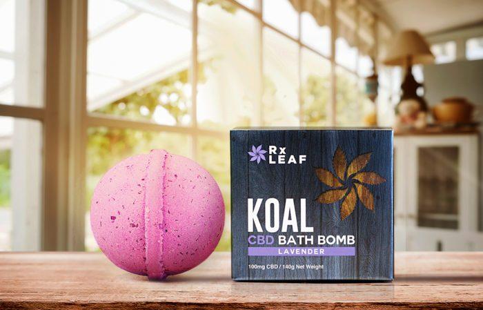 CBD bath bomb lavender scent box and bomb