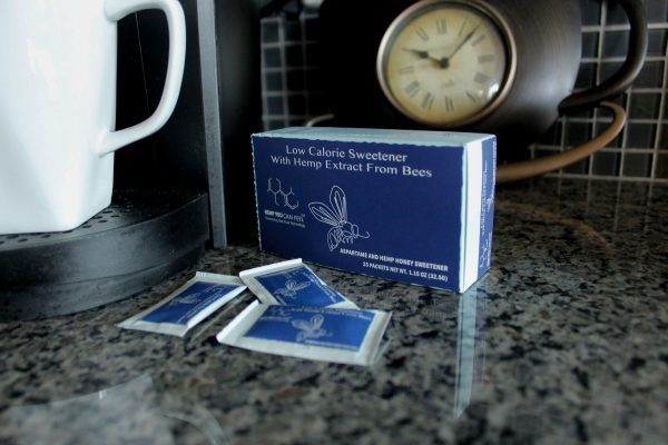 aspartame box and packets on counter