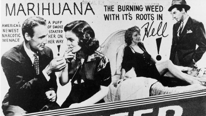 reefer madness represented by propaganda poster