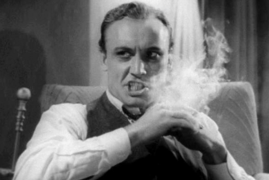 reefer madness represented by jack character exhaling and looking mean in film still