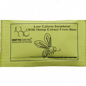 yellow packet of stevia sugar hemp you can feel product photo