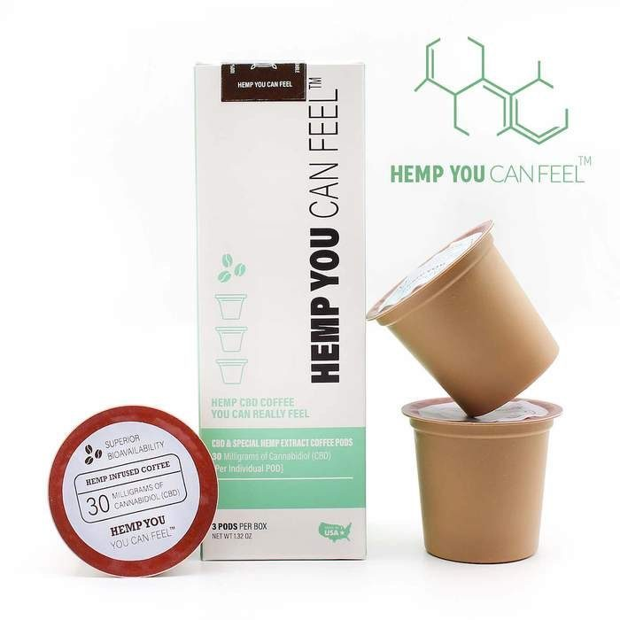 Coffee pods with CBD stacked for product photo Hemp You Can Feel
