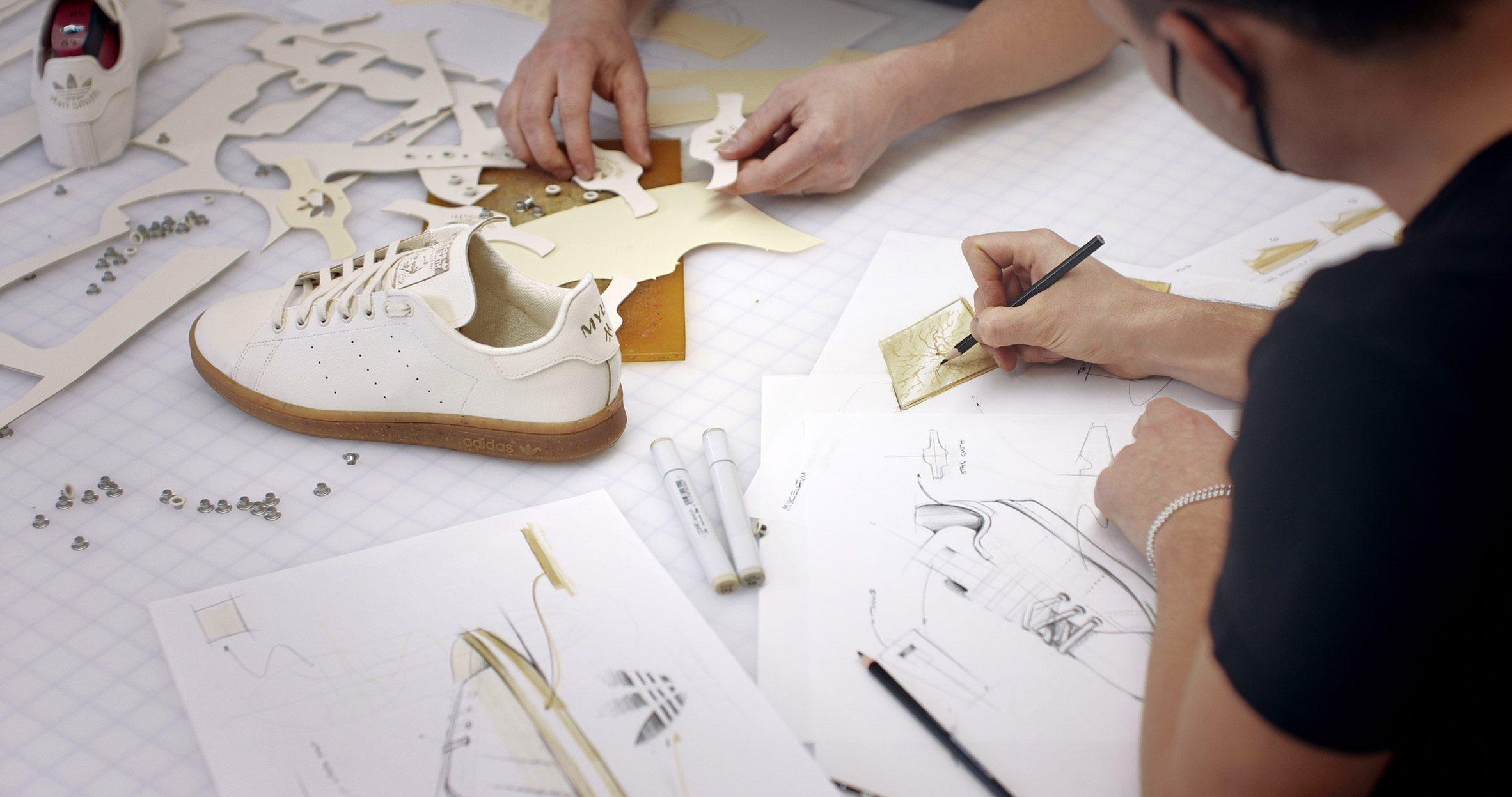 Stan Smith Mylo mushroom mycelium vegan leather shoes being designed